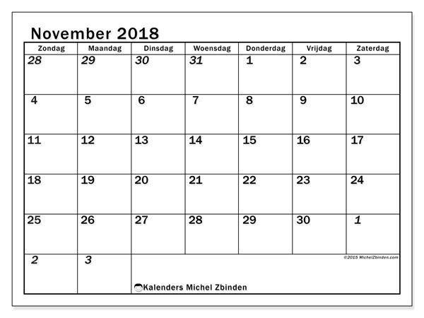 Kalender november 2018 (66ZZ). Gratis afdrukbare kalender.