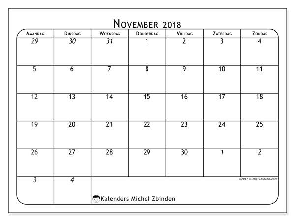 Kalender november 2018 (67MZ). Gratis printbare kalender.