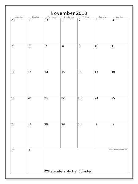 Kalender november 2018 (68MZ). Gratis kalender om af te drukken.