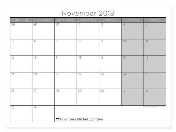 Kalender november 2018 (69MZ). Agenda om gratis te printen.