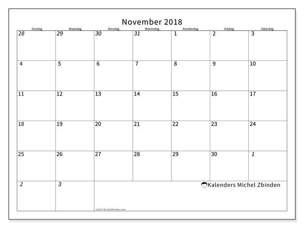 Kalender november 2018 (70ZZ). Kalender voor de maand die gratis moet worden afgedrukt.