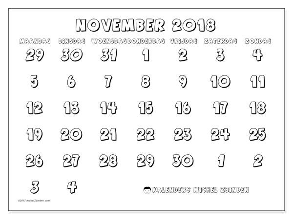 Kalender november 2018 (71MZ). Kalender voor de maand die gratis moet worden afgedrukt.