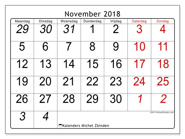Kalender november 2018 (72MZ). Agenda om gratis te printen.