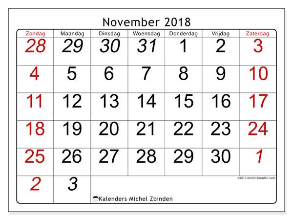 Kalender november 2018 (72ZZ). Kalender voor de maand die gratis moet worden afgedrukt.