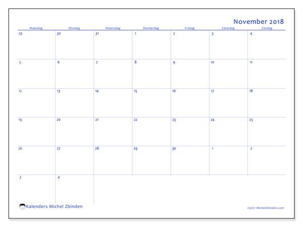 Kalender november 2018 (73MZ). Schema om gratis te printen.