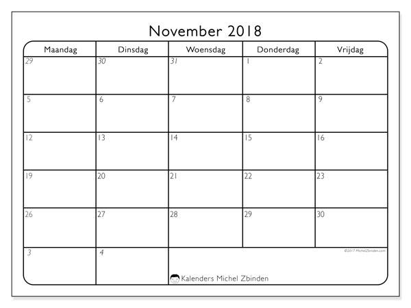 Kalender november 2018 (74MV). Kalender voor de maand die gratis moet worden afgedrukt.