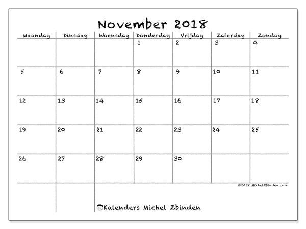 Kalender november 2018 (77MZ). Gratis afdrukbare kalender.