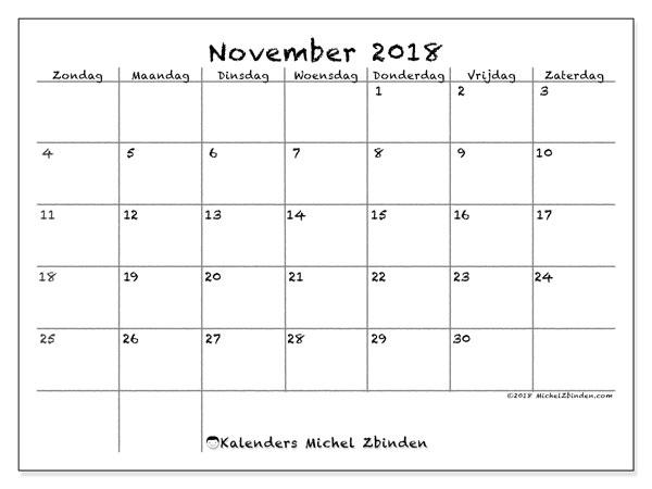 Kalender november 2018 (77ZZ). Gratis kalender om af te drukken.