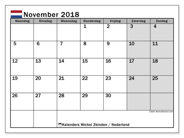 Kalender november 2018 met de feestdagen van Nederland. Kalender om gratis af te drukken.