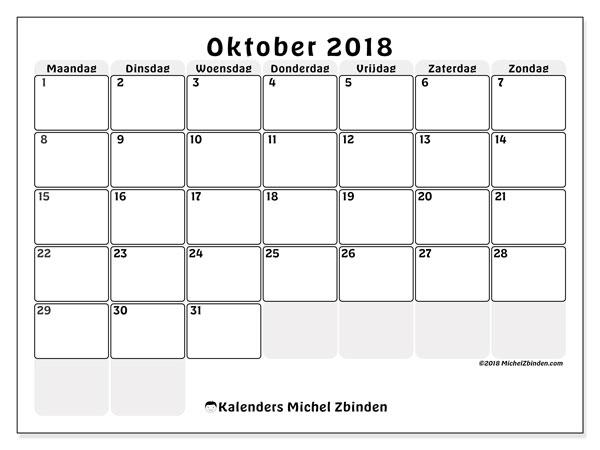 Kalender oktober 2018 (44MZ). Kalender om gratis te printen.