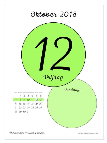 Kalender oktober 2018 (45-12ZZ). Kalender voor de dag om gratis te printen.