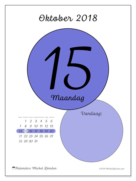Kalender oktober 2018 (45-15ZZ). Kalender voor de dag om gratis te printen.