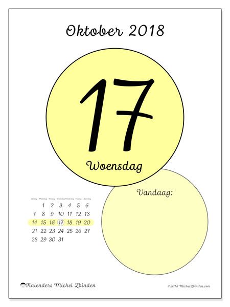 Kalender oktober 2018 (45-17ZZ). Dagelijkse kalender om gratis te printen.