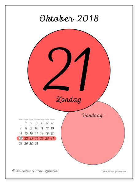 Kalender oktober 2018 (45-21ZZ). Dagelijkse kalender om gratis te printen.