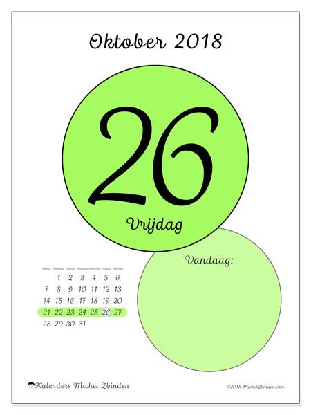 Kalender oktober 2018 (45-26ZZ). Kalender voor de dag om gratis te printen.