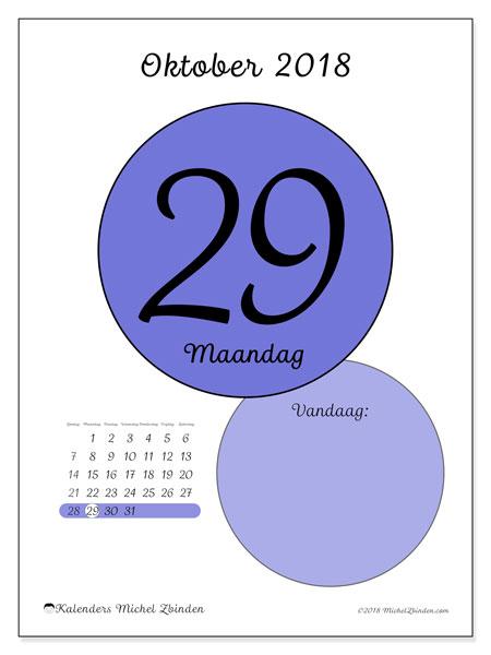Kalender oktober 2018 (45-29ZZ). Kalender voor de dag om gratis te printen.
