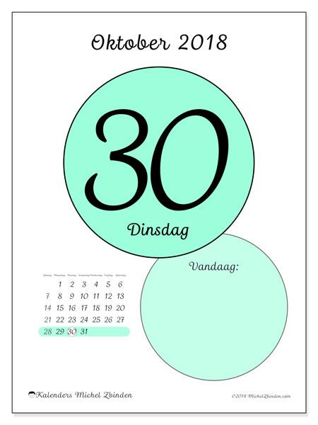 Kalender oktober 2018 (45-30ZZ). Dagelijkse kalender om gratis te printen.