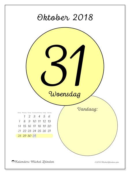 Kalender oktober 2018 (45-31ZZ). Dagelijkse kalender om gratis te printen.