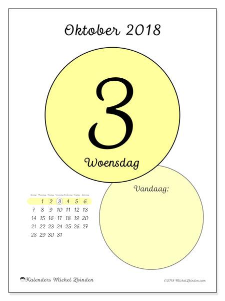 Kalender oktober 2018 (45-3ZZ). Dagelijkse kalender om gratis te printen.