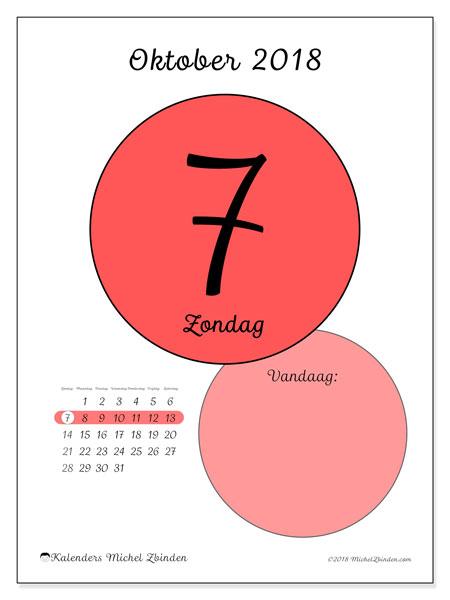 Kalender oktober 2018 (45-7ZZ). Dagelijkse kalender om gratis te printen.