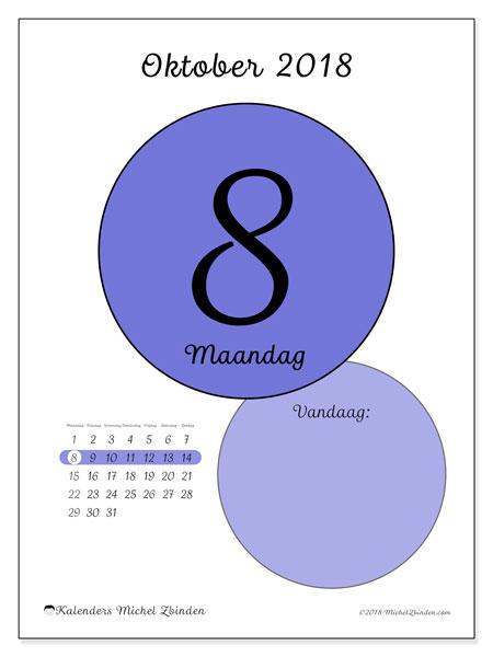 Kalender oktober 2018 (45-8MZ). Kalender voor de dag om gratis te printen.