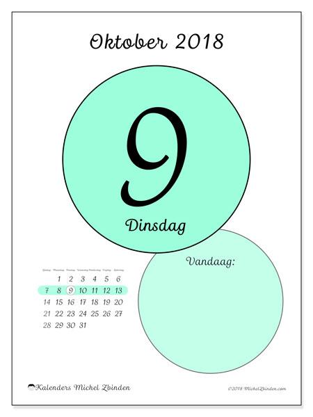 Kalender oktober 2018 (45-9ZZ). Kalender voor de dag om gratis te printen.