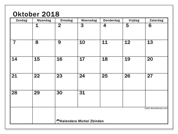 Kalender oktober 2018 (50ZZ). Gratis kalender om af te drukken.