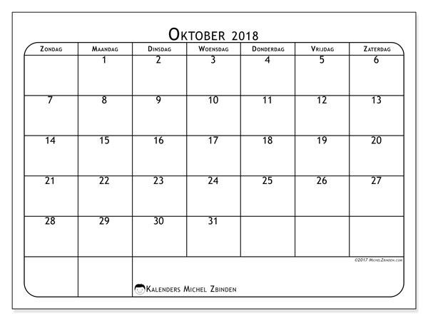 Kalender oktober 2018 (51ZZ). Kalender om gratis af te drukken.