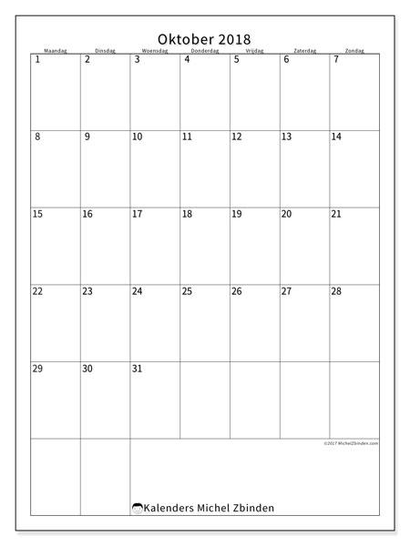 Kalender oktober 2018 (52MZ). Gratis printbare kalender.