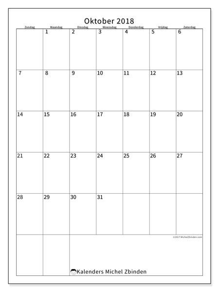 Kalender oktober 2018 (52ZZ). Kalender om gratis af te drukken.