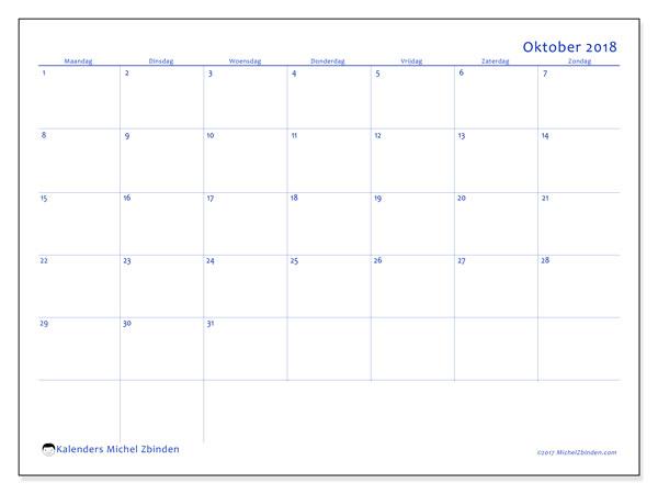 Kalender oktober 2018 (55MZ). Maandkalender om gratis te printen.