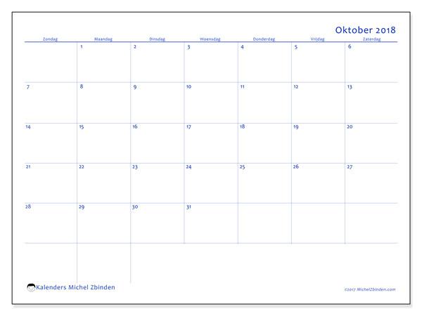 Kalender oktober 2018 (55ZZ). Kalender om gratis af te drukken.