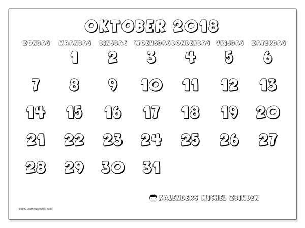 Kalender oktober 2018 (56ZZ). Kalender om gratis af te drukken.
