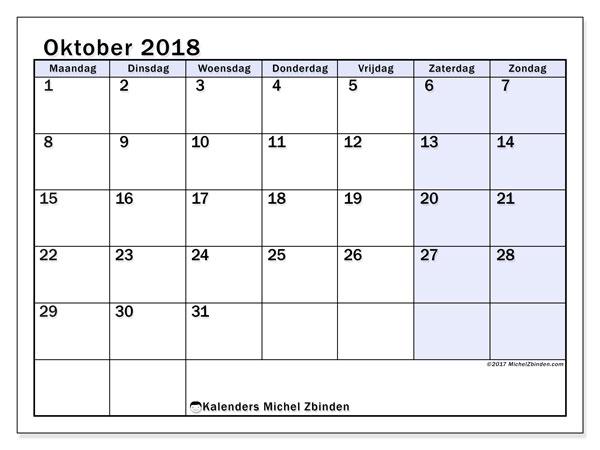 Kalender oktober 2018 (57MZ). Kalender om gratis af te drukken.