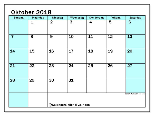 Kalender oktober 2018 (59ZZ). Gratis afdrukbare kalender.