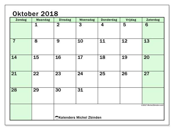 Kalender oktober 2018 (60ZZ). Schema om gratis te printen.