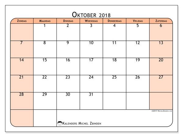 Kalender oktober 2018 (61ZZ). Gratis kalender om af te drukken.