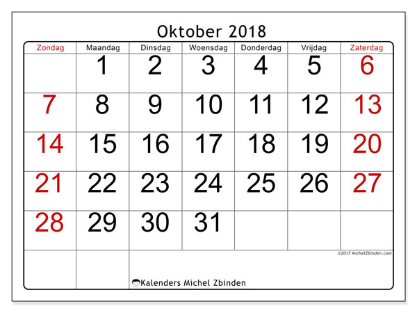 Kalender oktober 2018 (62ZZ). Gratis afdrukbare kalender.