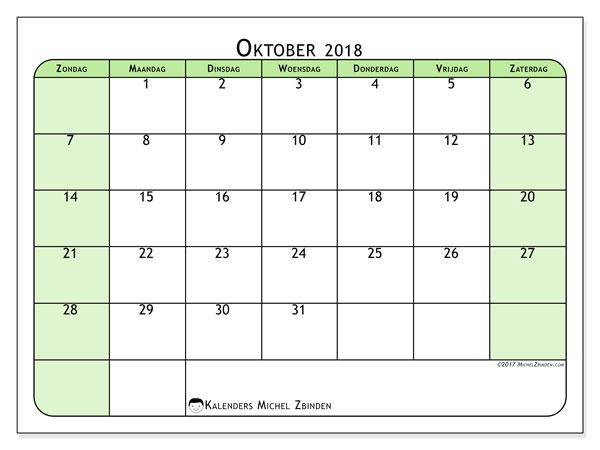 Kalender oktober 2018 (65ZZ). Kalender om gratis af te drukken.