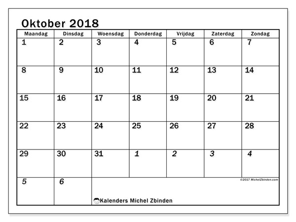 Kalender oktober 2018 (66MZ). Agenda om gratis te printen.