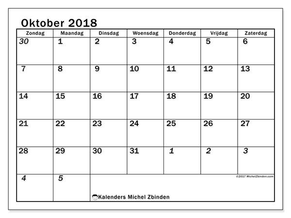 Kalender oktober 2018 (66ZZ). Kalender om gratis af te drukken.