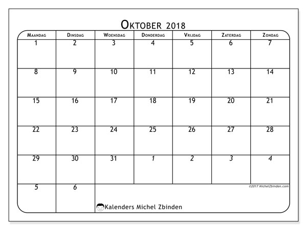 Kalender oktober 2018 (67MZ). Kalender voor de maand die gratis moet worden afgedrukt.