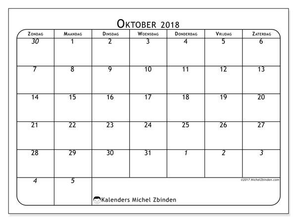 Kalender oktober 2018 (67ZZ). Gratis kalender om af te drukken.