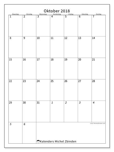 Kalender oktober 2018 (68MZ). Gratis afdrukbare kalender.