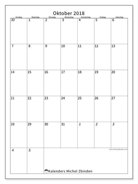 Kalender oktober 2018 (68ZZ). Kalender om gratis te printen.