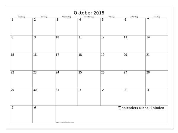 Kalender  oktober 2018, 70MZ