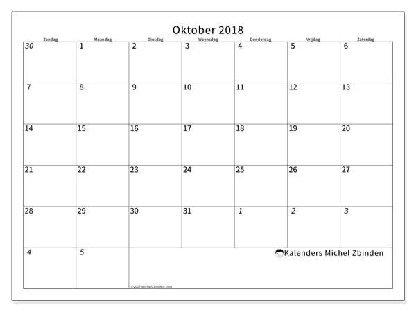 Kalender oktober 2018 (70ZZ). Kalender voor de maand die gratis moet worden afgedrukt.