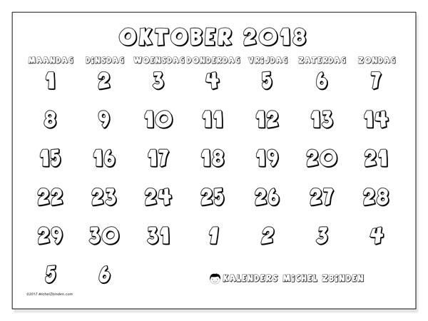 Kalender oktober 2018 (71MZ). Gratis kalender om af te drukken.