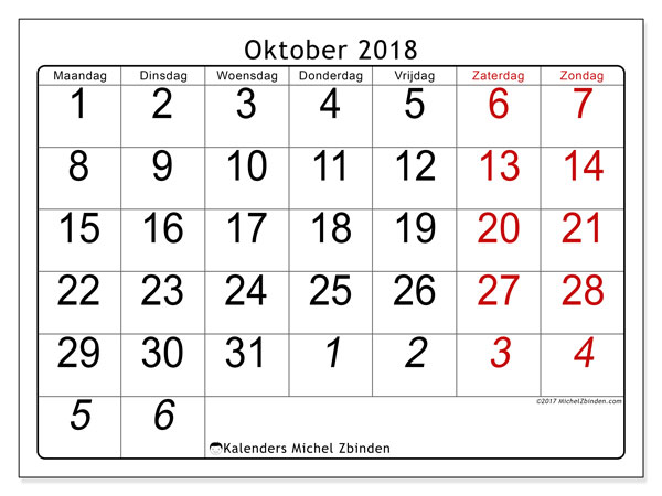 Kalender oktober 2018 (72MZ). Gratis kalender om af te drukken.