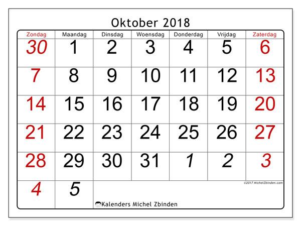 Kalender oktober 2018 (72ZZ). Gratis kalender om af te drukken.
